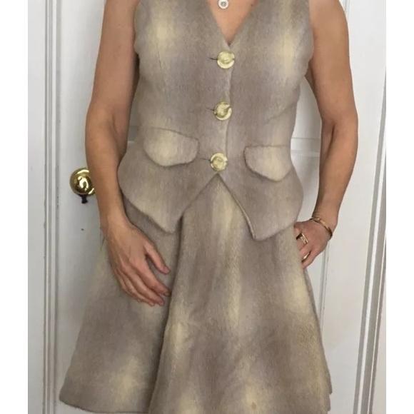 Dresses & Skirts - Boho style Vegan Wool mohair skirt and vest set